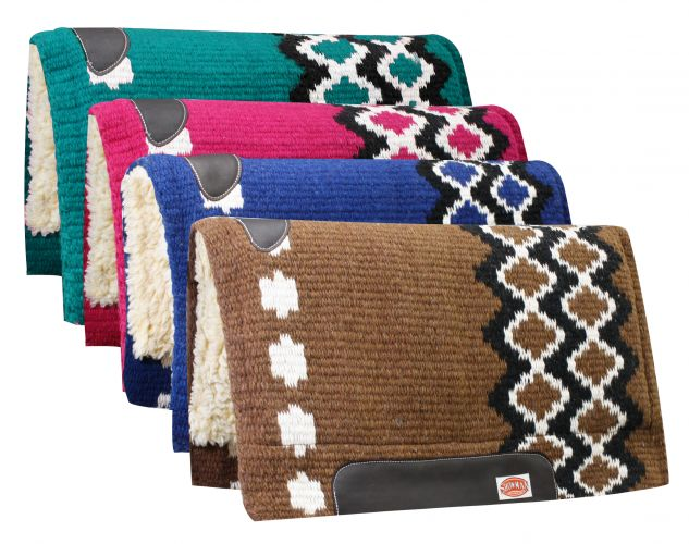 "36"" x 34"" 100% Wool Top Cutter Style Saddle Pad with Kodel Fleece Bottom-36 x 34 100% Wool Top Cutter Style Saddle Pad with Kodel Fleece Bottom"