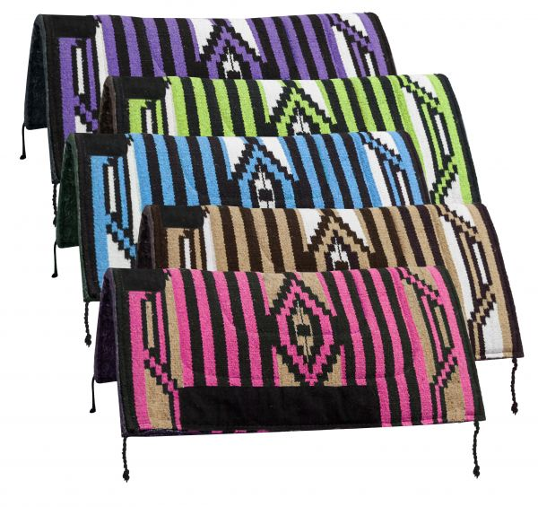 "32"" x 32"" Arcylic top saddle pad with Navajo design and 1"" felt bottom-32 x 32 Arcylic top saddle pad with Navajo design and 1 felt bottom"