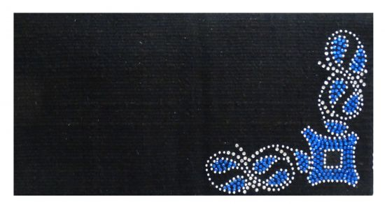 "38""x 34"" 5lb100% Woven New Zealand wool saddle blanket with crystal rhinestone blue diamond design"