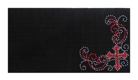 "38""x 34"" 5lb100% Woven New Zealand wool saddle blanket with crystal rhinestone pink cross design"