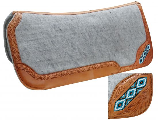 "32"" x 32"" Contoured felt bottom saddle pad with beaded inlay- 32 x 32 Contoured felt bottom saddle pad with beaded inlay"