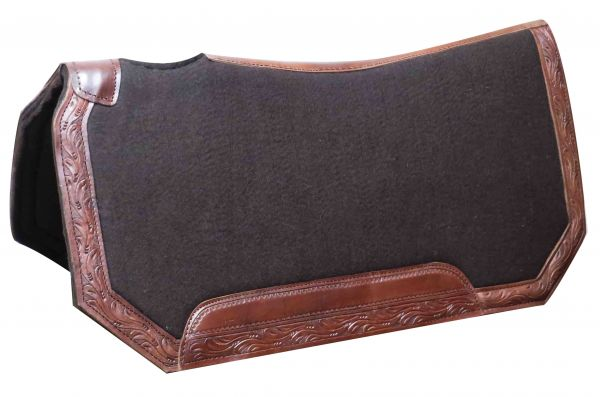 "30"" x 30""x 1"" Brown felt pad with tooled leather trim"