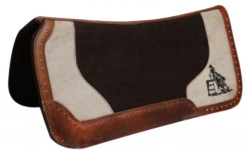 "31"" x 31"" Dark brown felt pad with barrel racer embroidery-31 x 31 Dark brown felt pad with barrel racer embroidery"