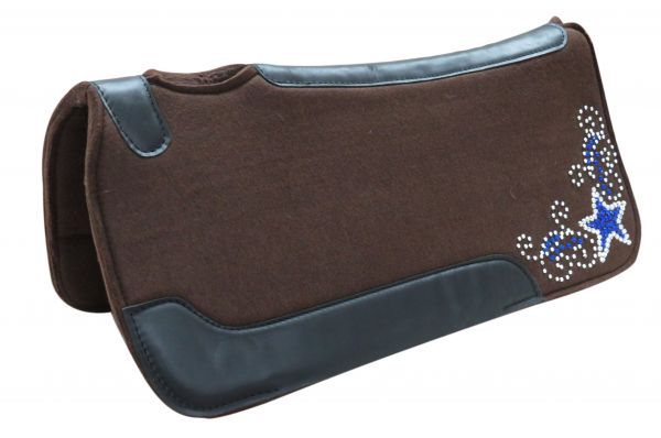 "31"" X 31"" x 1"" Brown felt saddle pad with crystal rhinestone star design"