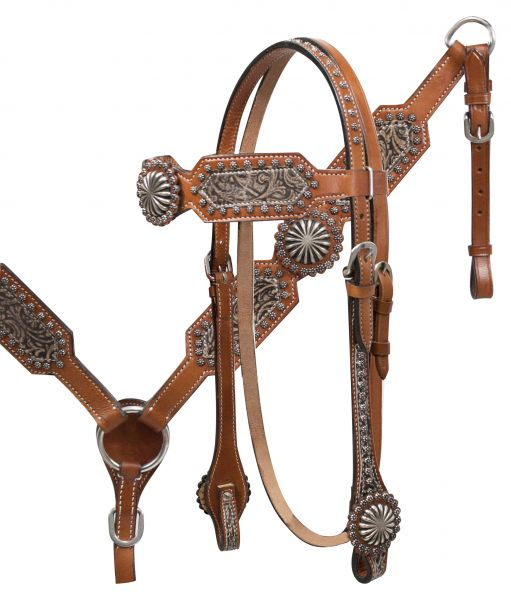 Filigree overlay headstall and breast collar set with starburst conchos-Filigree overlay headstall and breast collar set with starburst conchos