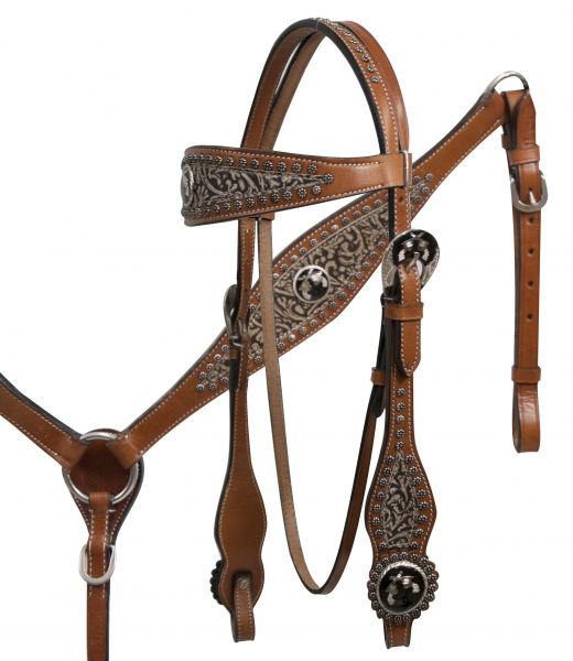 Filigree overlay headstall and breast collar set with cross guns conchos- Filigree overlay headstall and breast collar set with cross guns conchos