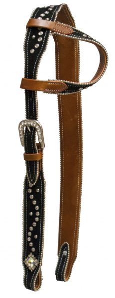 One ear belt headstall with suede overlay and crystal rhinestone studs.