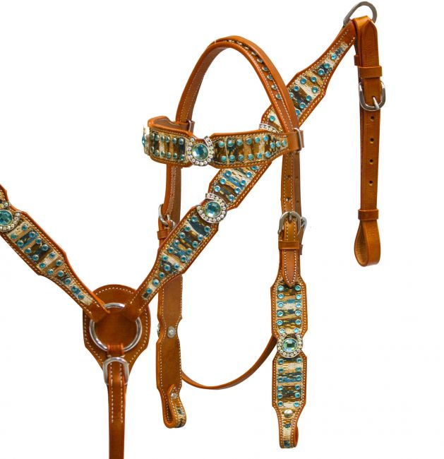 Headstall and breast collar set with blue lace overlay and crystal rhinestone horse shoe conchos
