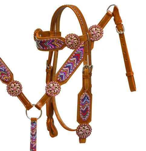 Headstall and breast collar set with multi color chevron lace overlay accented with pinwheel conchos