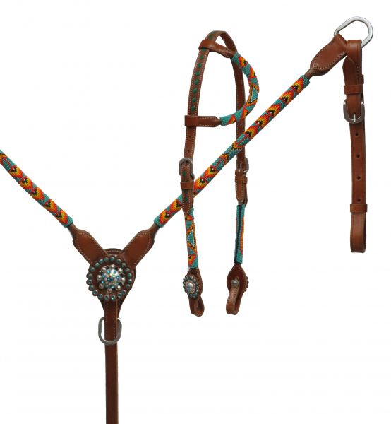 Round beaded overlay headstall and breast collar set