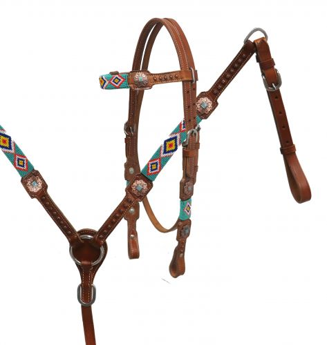 Beaded headstall and breast collar set