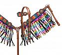 Serape print headstall and breast collar set