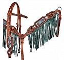 Medium leather headstall and breastcollar set with beaded inlay and suede fringe