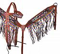 Multi Colored Plaid inlay browband headstall and breastcollar set