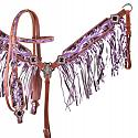 Purple hand painted browband headstall and breast collar set
