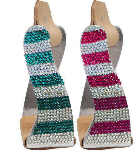 Lightweight twisted angled aluminum stirrups with crystal rhinestones-Lightweight twisted angled aluminum stirrups with crystal rhinestones
