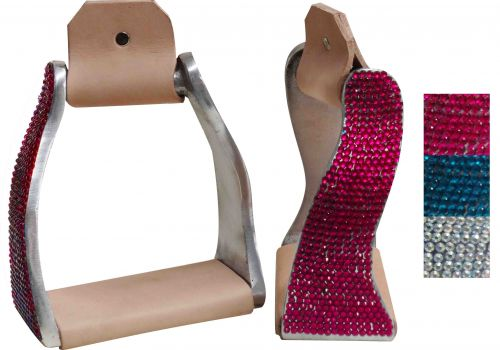 Lightweight twisted angled aluminum stirrups with crystal rhinestones- Lightweight twisted angled aluminum stirrups with crystal rhinestones