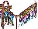 Hand Painted Feather, Sunflower and Cactus Brow band Headstall and Breast collar Set with Metallic  Rainbow Fringe