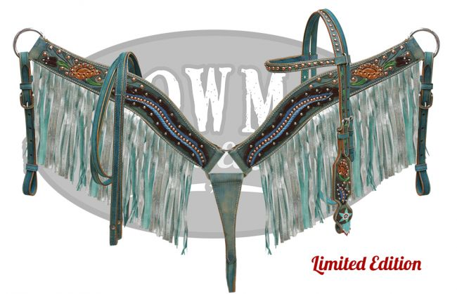 LIMITED EDITION  Floral tooled headstall and breast collar set with shimmer fringe-LIMITED EDITION  Floral tooled headstall and breast collar set with shimmer fringe