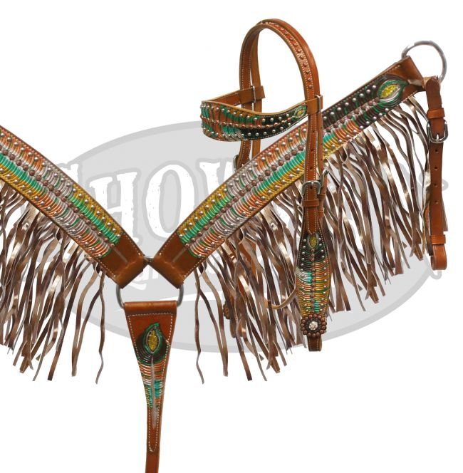 LIMITED EDITION  Metallic painted peacock feather headstall and breast collar set
