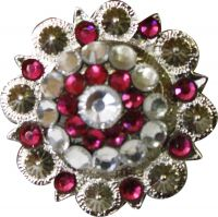 Silver concho with pink and clear crystal rhinestones