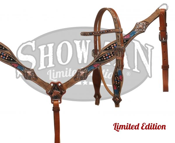 LIMITED EDITION painted feather design headstall and breast collar set