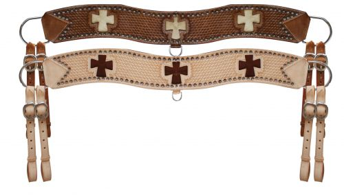 leather tripping collar with hair on cowhide cross- leather tripping collar with hair on cowhide cross
