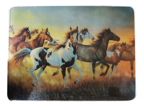 Tempered Glass cutting board with wild mustang herd-Tempered Glass cutting board with wild mustang herd