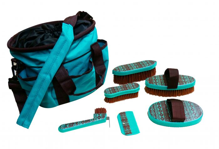 6 piece Navajo print grooming kit with nylon cordura carrying bag