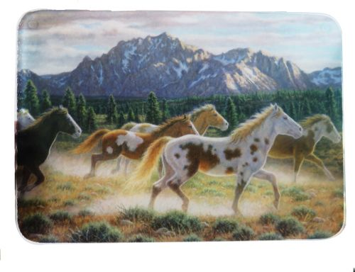 Tempered Glass cutting board w/ running horses
