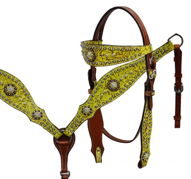 Filigree print headstall and breast collar set with antique bronze hardware-Filigree print headstall and breast collar set with antique bronze hardware