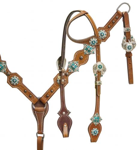 One ear headstall and breast collar set with teal crystal rhinestone conchos