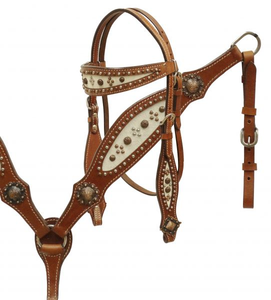 Hair-on cowhide headstall and breast collar set accented with copper and silver studs