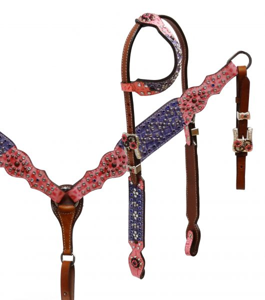 One ear headstall and breast collar set with pink and purple alligator print overlay- One ear headstall and breast collar set with pink and purple alligator print overlay