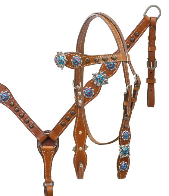 Headstall and breast collar set with blue and pink crystal rhinestone conchos