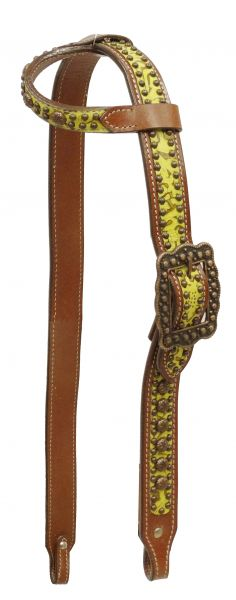 Single ear filigree print belt style headstall with antique bronze hardware and studs-Single ear filigree print belt style headstall with antique bronze hardware and studs