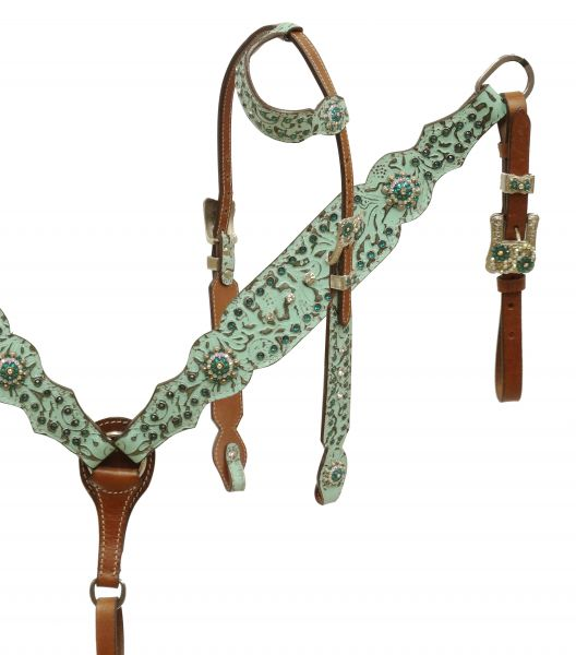 Single ear headstall and breast collar set with filigree print
