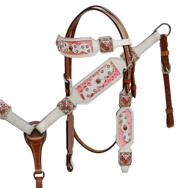 White hair-on cowhide headstall and breast collar with pink alligator print inlay