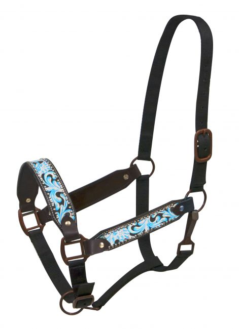 FULL SIZE Painted filigree belt halter with antique style hardware