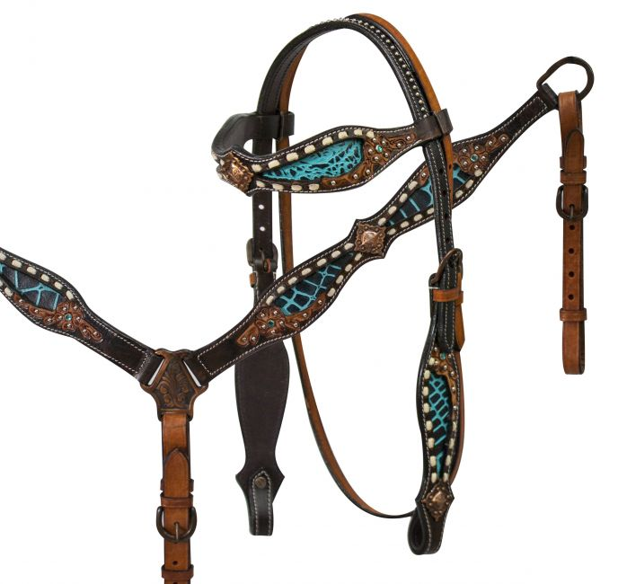 headstall and breast collar set with teal alligator print inlay accented with tan buck stitch and floral tooling
