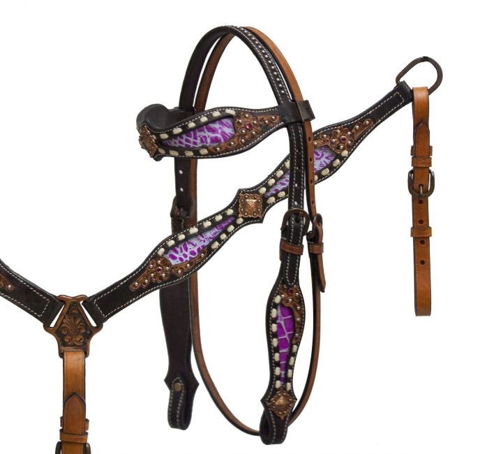 headstall and breast collar set with pink alligator print inlay accented with tan buck stitch and floral tooling