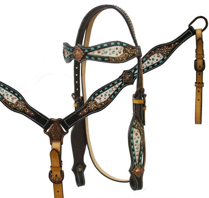 headstall and breast collar set with hair on cowhide inlay accented with teal buck stitch and floral tooling