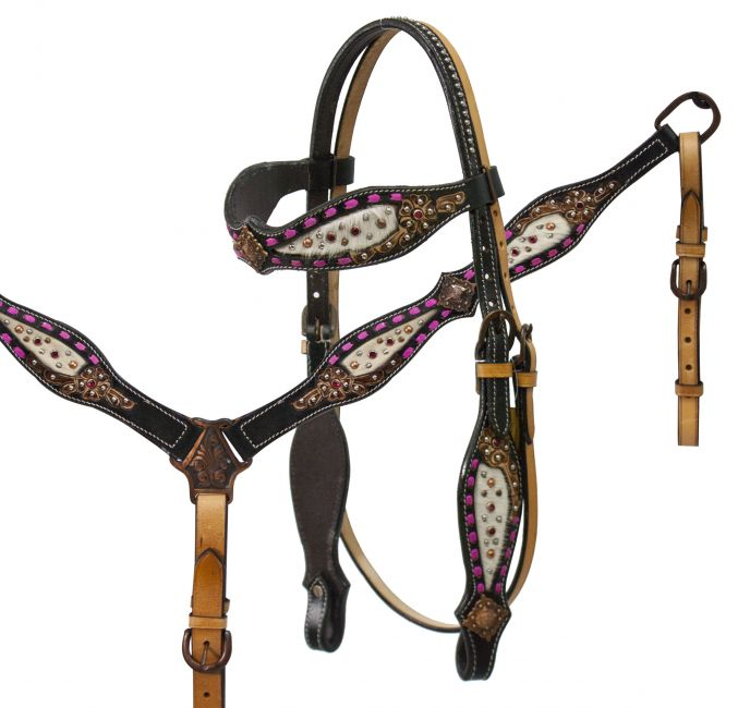 headstall and breast collar set with hair on cowhide inlay accented with pink buck stitch and floral tooling