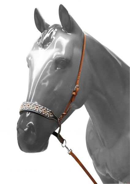 Adjustable studded noseband with tie down strap- Adjustable studded noseband with tie down strap
