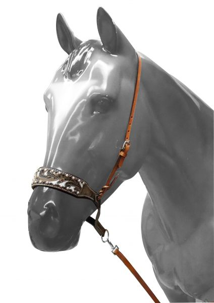 Adjustable painted tooled noseband with tie down strap- Adjustable painted tooled noseband with tie down strap