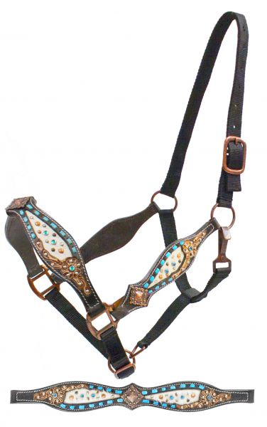 Belt style halter with teal buck stich and hair on cowhide inlay