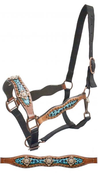 FULL SIZE belt style halter with teal alligator print inlay and crystal rhinestone conchos