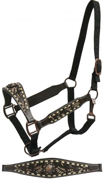 FULL SIZE belt style halter with painted floral tooling and cream buck stitch