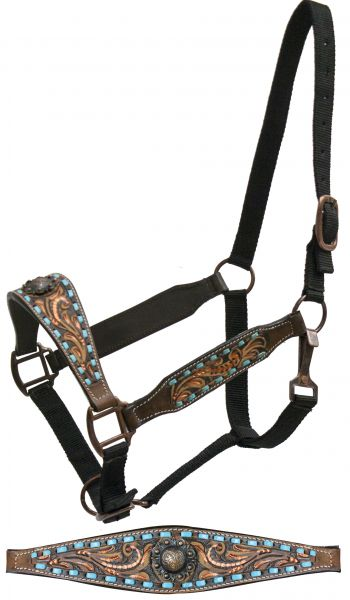 FULL SIZE belt style halter copper painted floral tooling and teal buck stitch- FULL SIZE belt style halter copper painted floral tooling and teal buck stitch