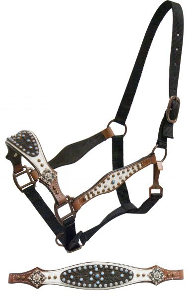 FULL SIZE belt style halter with white leather and dark tooled leather overlays- FULL SIZE belt style halter with white leather and dark tooled leather overlays